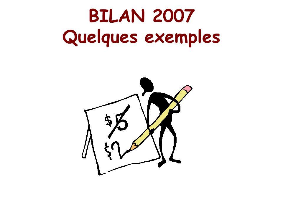 BILAN 2007 Quelques exemples
