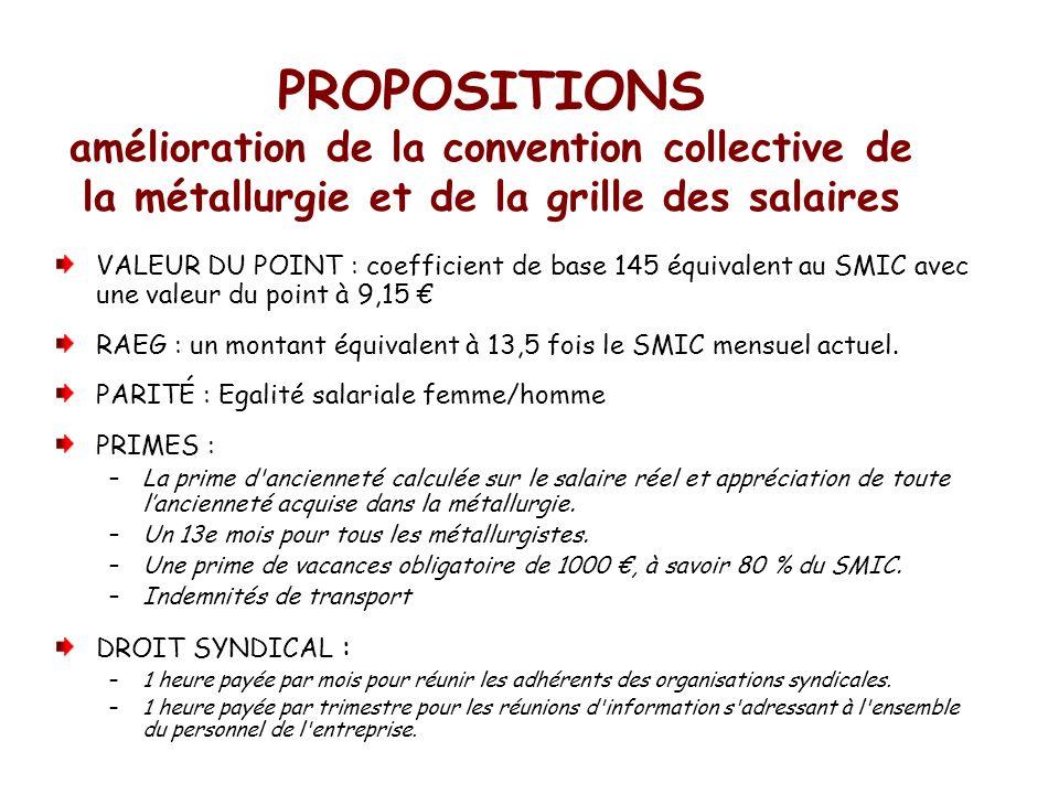 PROPOSITIONS amélioration de la convention collective de la métallurgie et de la grille des salaires