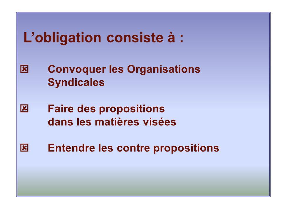 L'obligation consiste à :