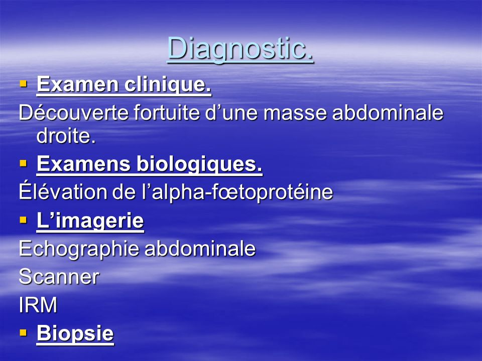 Diagnostic. Examen clinique.
