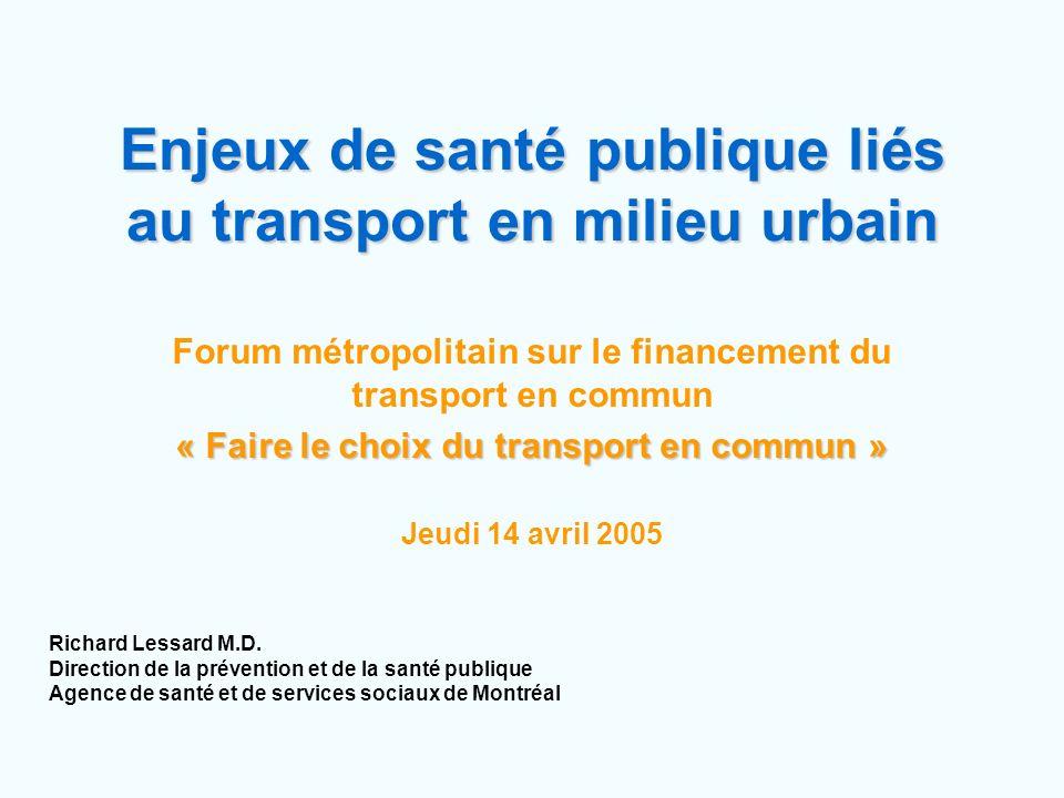 Enjeux de santé publique liés au transport en milieu urbain