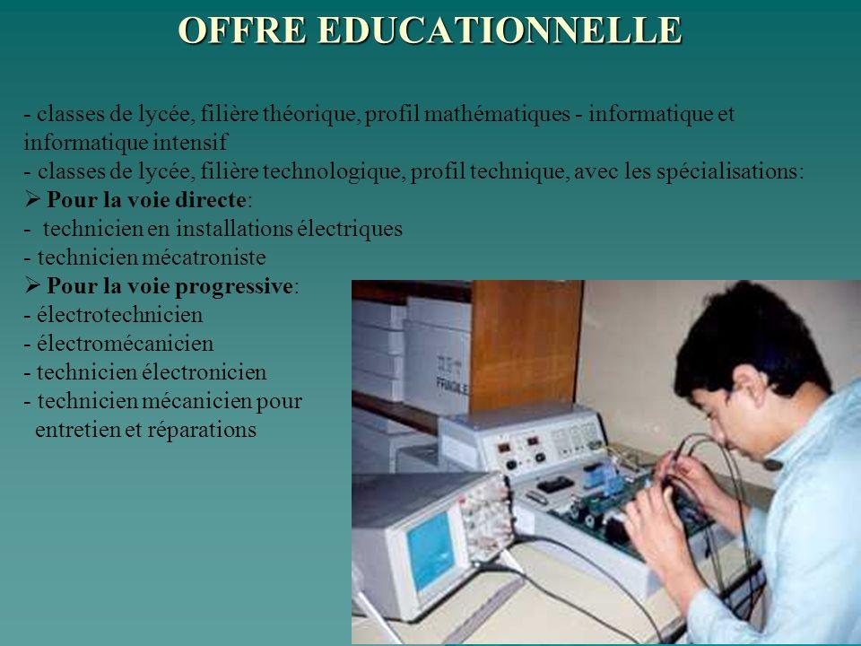 OFFRE EDUCATIONNELLE - classes de lycée, filière théorique, profil mathématiques - informatique et informatique intensif.