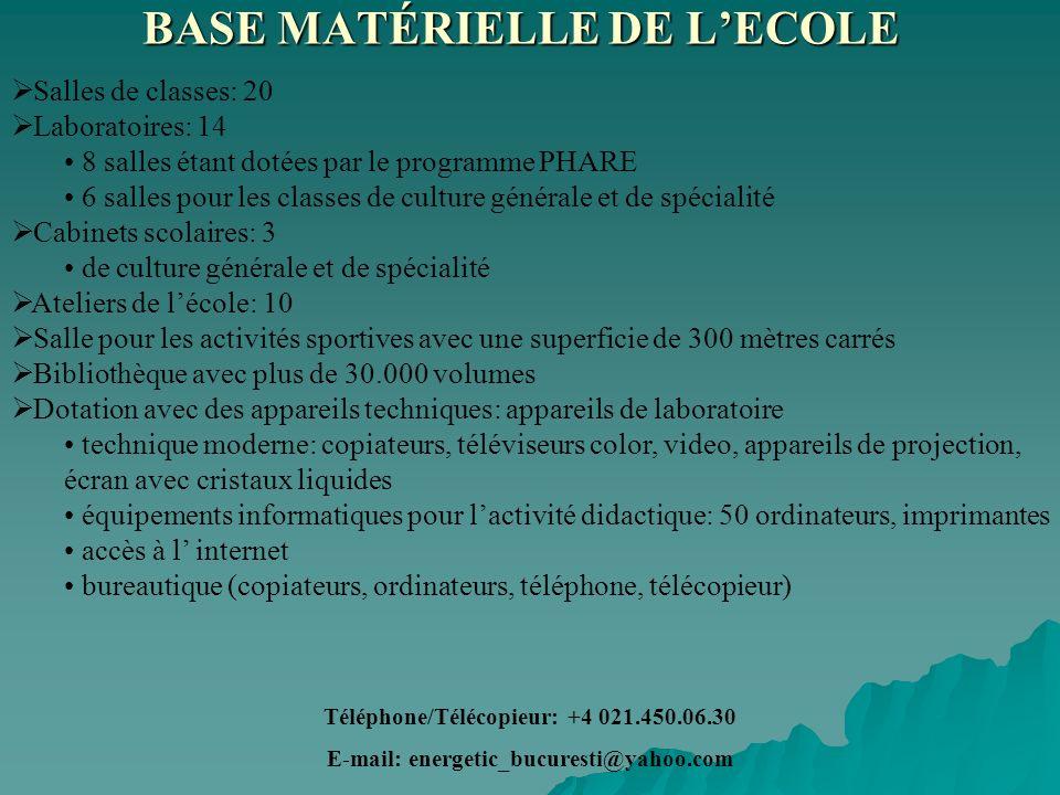 BASE MATÉRIELLE DE L'ECOLE