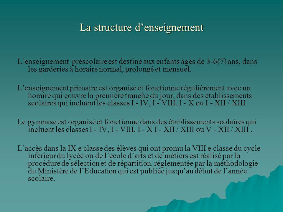 La structure d'enseignement