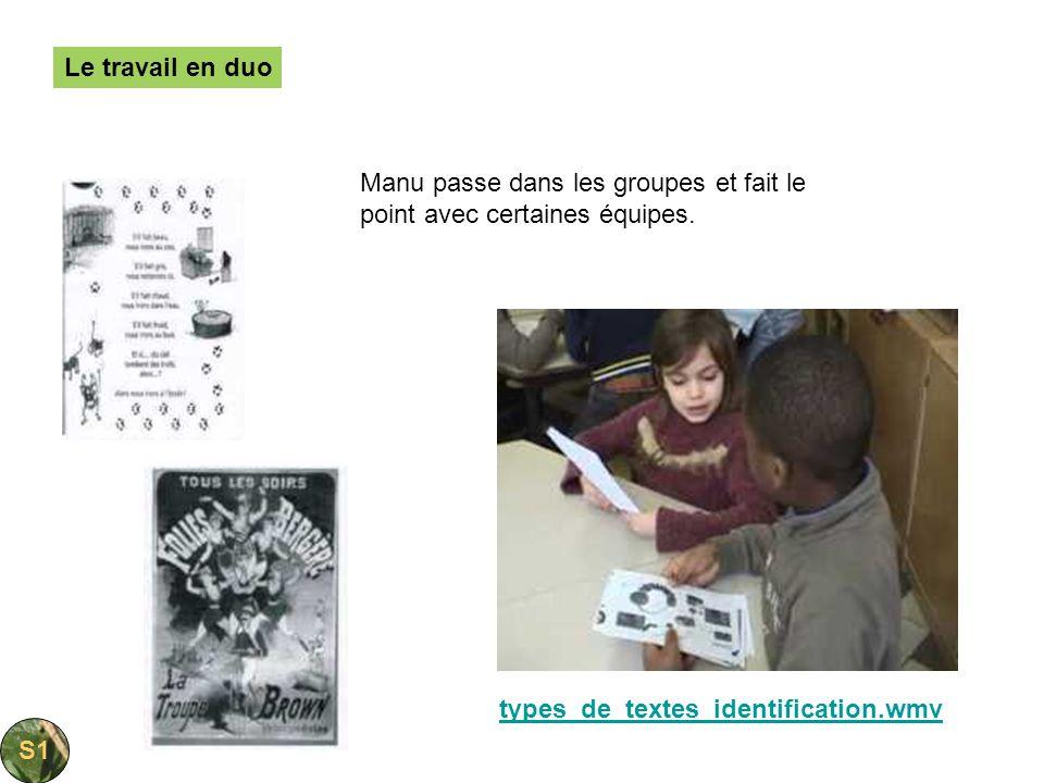 Le travail en duoManu passe dans les groupes et fait le point avec certaines équipes. types_de_textes_identification.wmv.