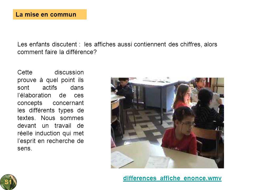La mise en commun Les enfants discutent : les affiches aussi contiennent des chiffres, alors comment faire la différence