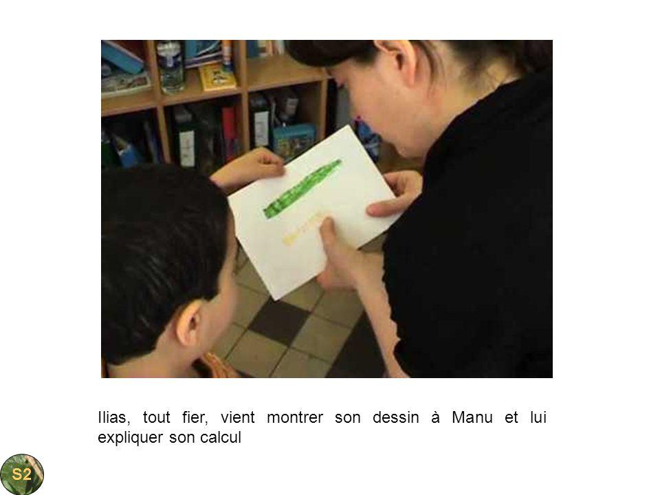 Ilias, tout fier, vient montrer son dessin à Manu et lui expliquer son calcul