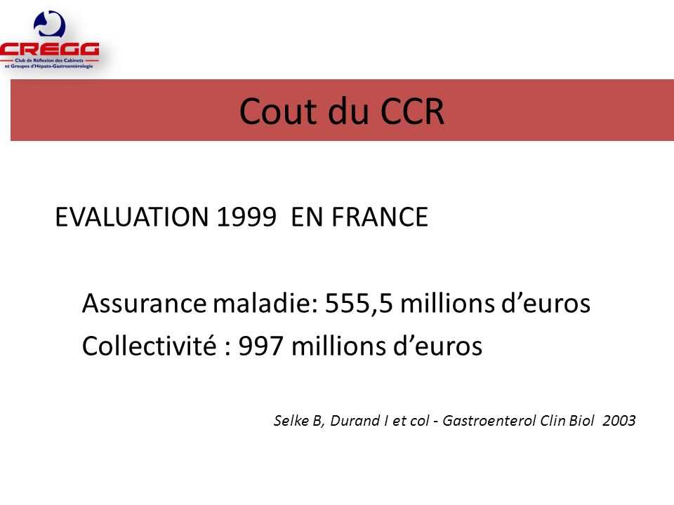 Cout du CCR EVALUATION 1999 EN FRANCE