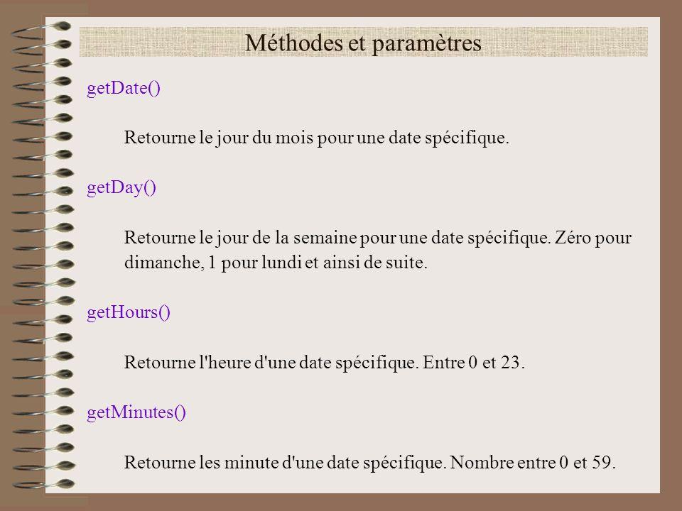 Méthodes et paramètres