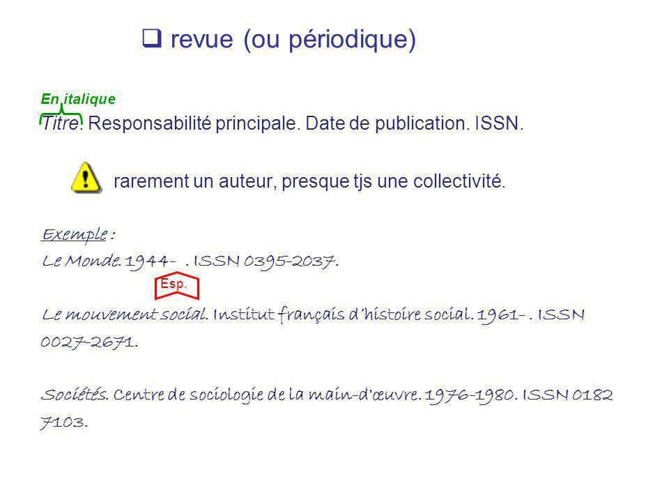 revue (ou périodique) En italique. Titre. Responsabilité principale. Date de publication. ISSN. rarement un auteur, presque tjs une collectivité.