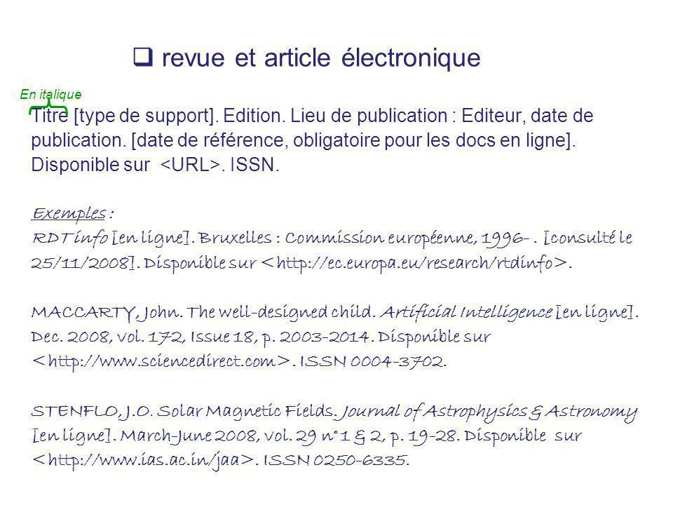 revue et article électronique