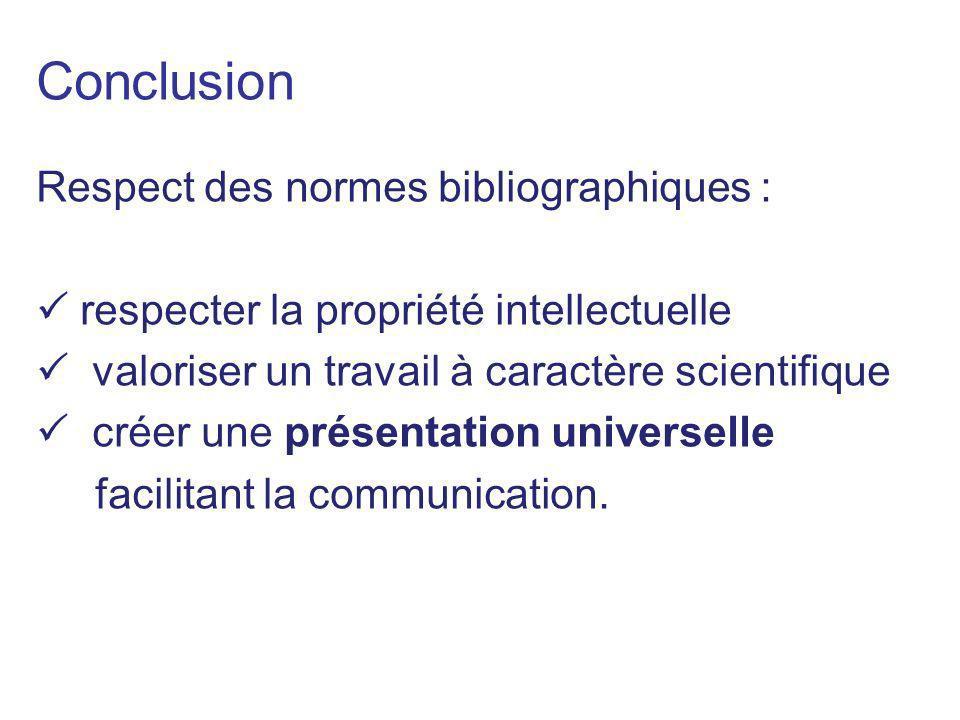Conclusion Respect des normes bibliographiques :