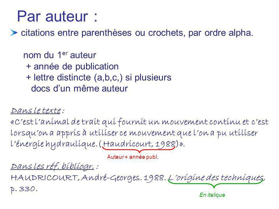 Par auteur : citations entre parenthèses ou crochets, par ordre alpha.
