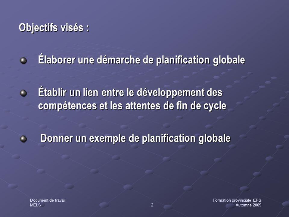 Objectifs visés : Élaborer une démarche de planification globale.