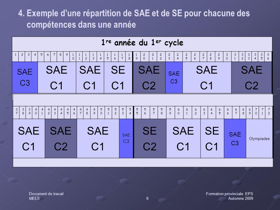 4. Exemple d'une répartition de SAE et de SE pour chacune des compétences dans une année