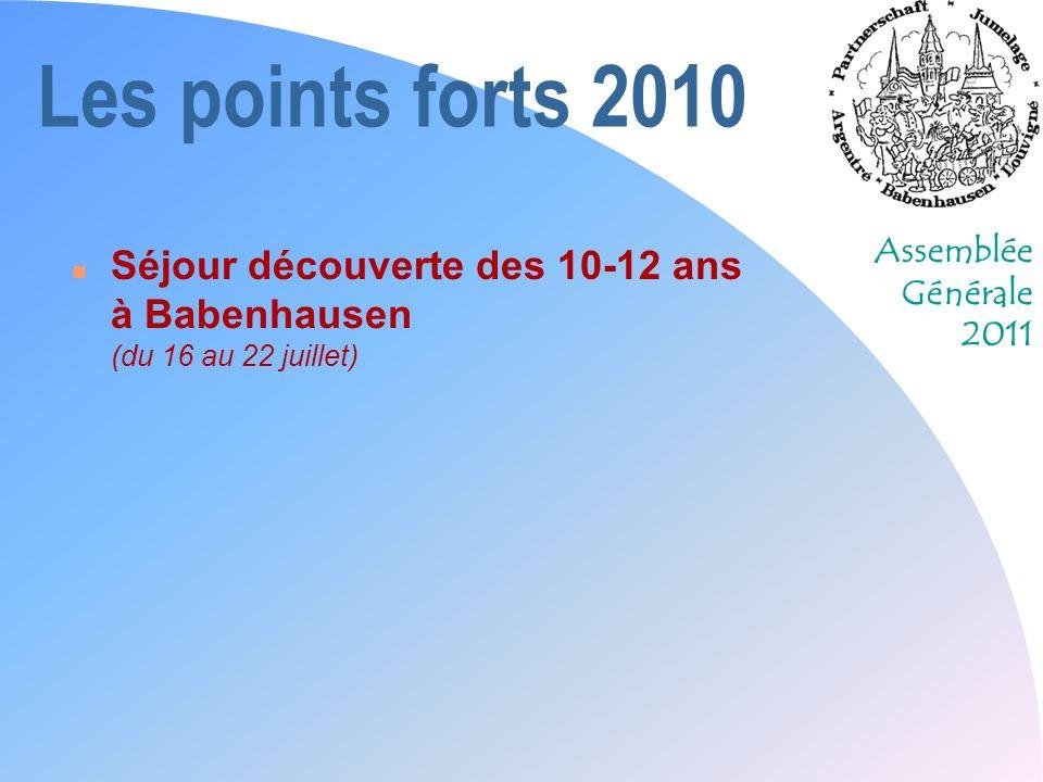 Les points forts 2010 Séjour découverte des 10-12 ans à Babenhausen (du 16 au 22 juillet)