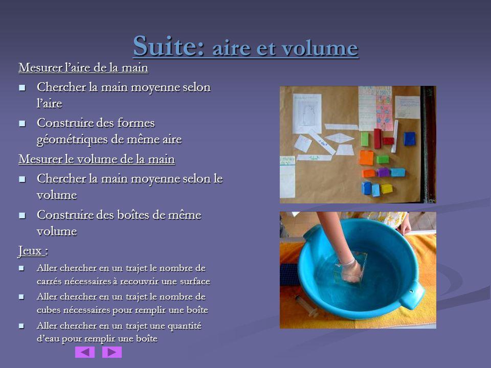 Suite: aire et volume Mesurer l'aire de la main