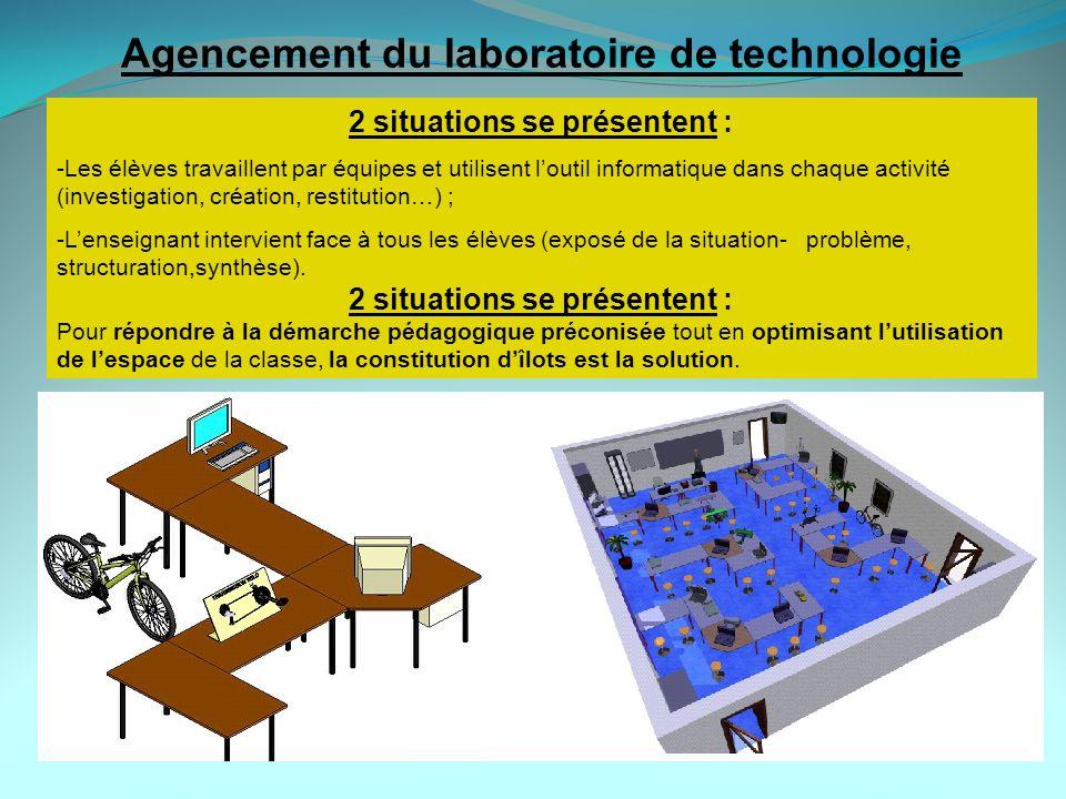Agencement du laboratoire de technologie 2 situations se présentent :