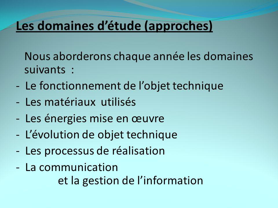 Les domaines d'étude (approches)