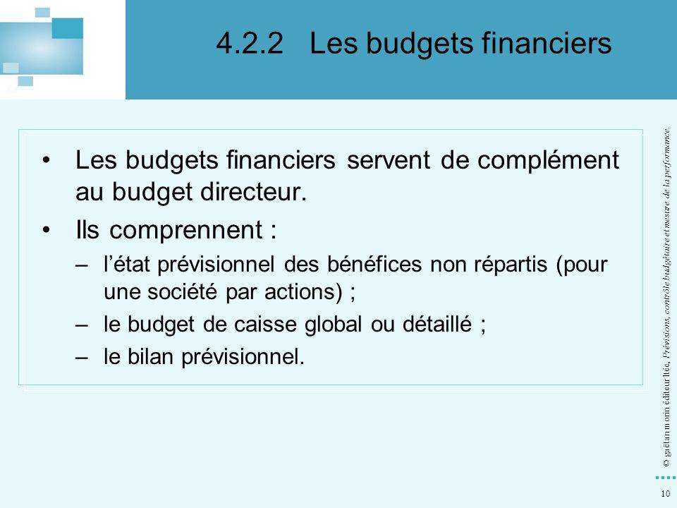 4.2.2 Les budgets financiers