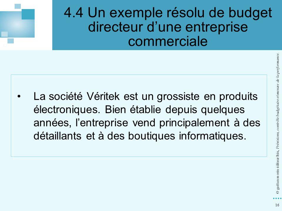 4.4 Un exemple résolu de budget directeur d'une entreprise commerciale