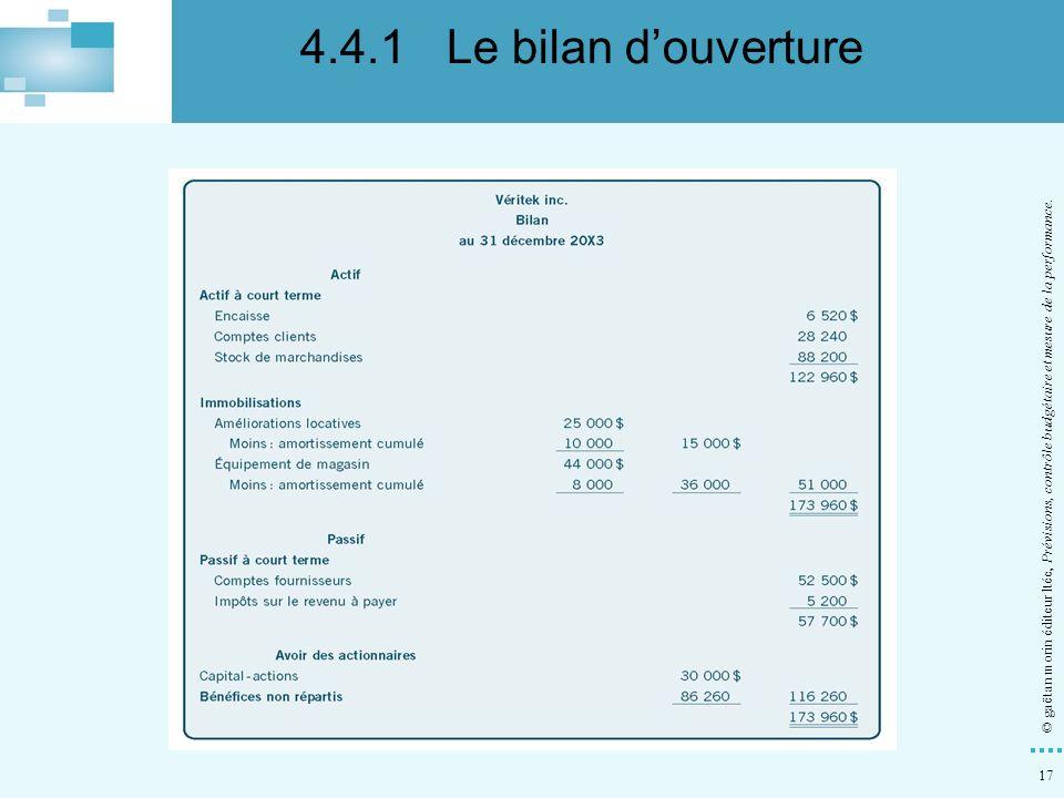 4.4.1 Le bilan d'ouverture © gaëtan morin éditeur ltée, Prévisions, contrôle budgétaire et mesure de la performance.