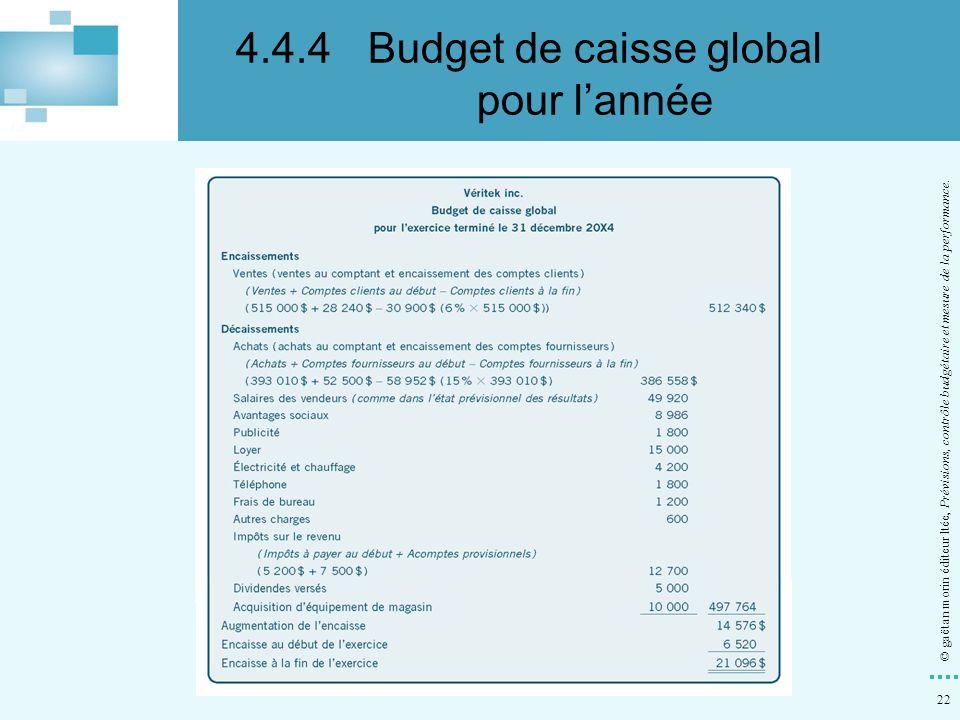 4.4.4 Budget de caisse global pour l'année