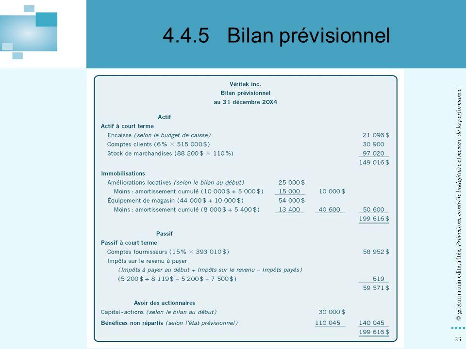4.4.5 Bilan prévisionnel © gaëtan morin éditeur ltée, Prévisions, contrôle budgétaire et mesure de la performance.