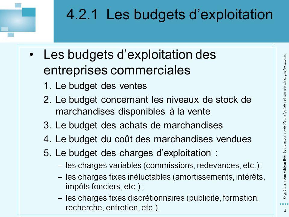 4.2.1 Les budgets d'exploitation