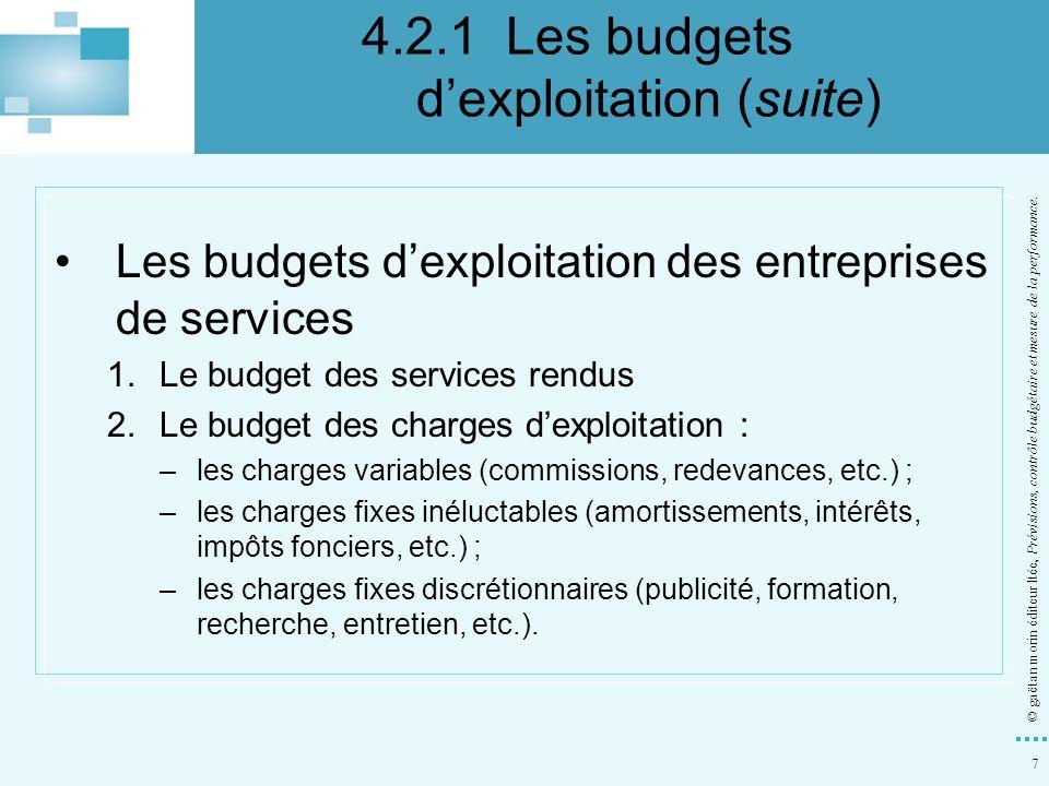 4.2.1 Les budgets d'exploitation (suite)