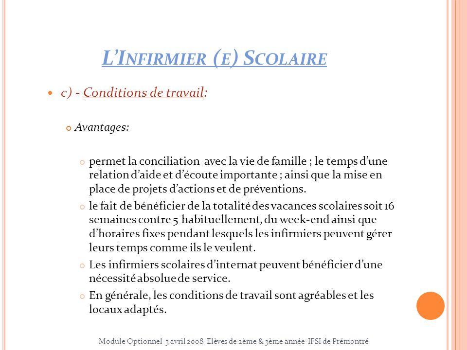 L'Infirmier (e) Scolaire