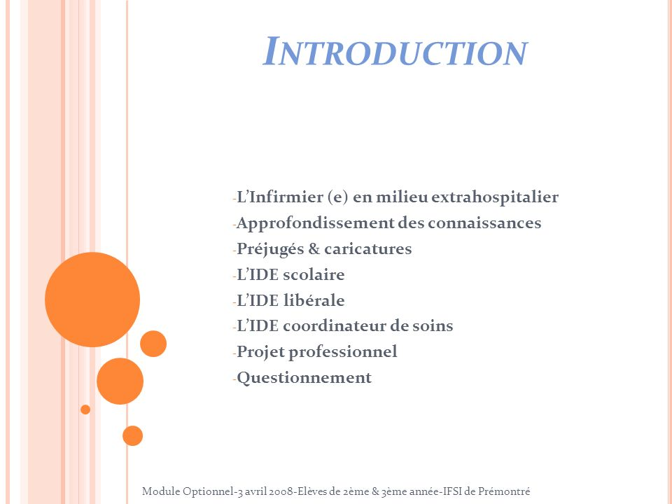 Introduction L'Infirmier (e) en milieu extrahospitalier