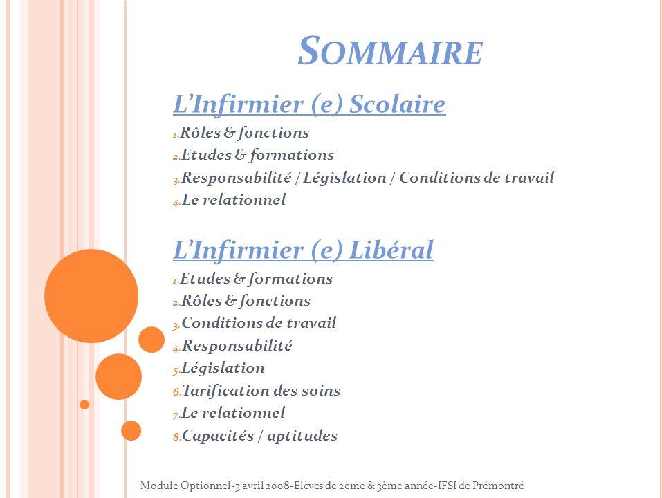 Sommaire L'Infirmier (e) Scolaire L'Infirmier (e) Libéral