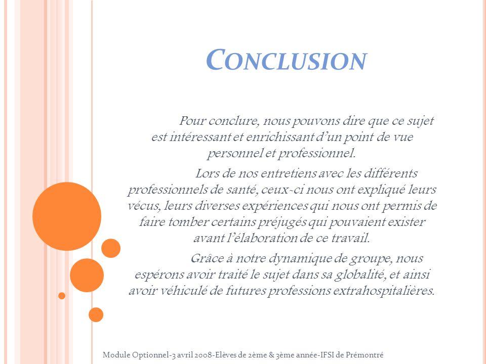Conclusion Pour conclure, nous pouvons dire que ce sujet est intéressant et enrichissant d'un point de vue personnel et professionnel.