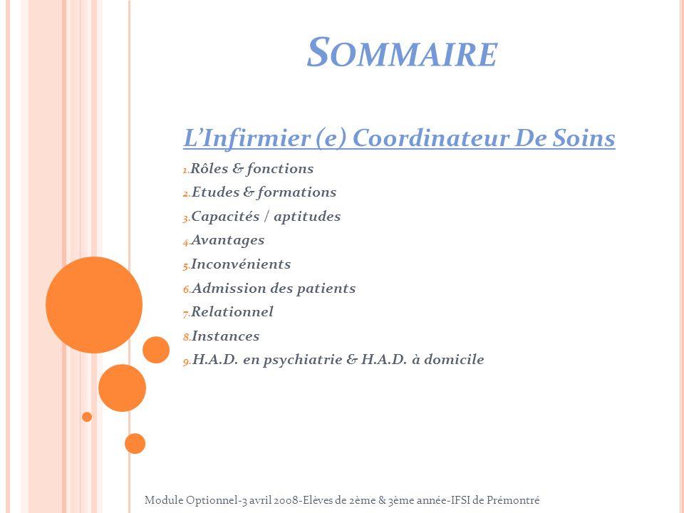 Sommaire L'Infirmier (e) Coordinateur De Soins Rôles & fonctions