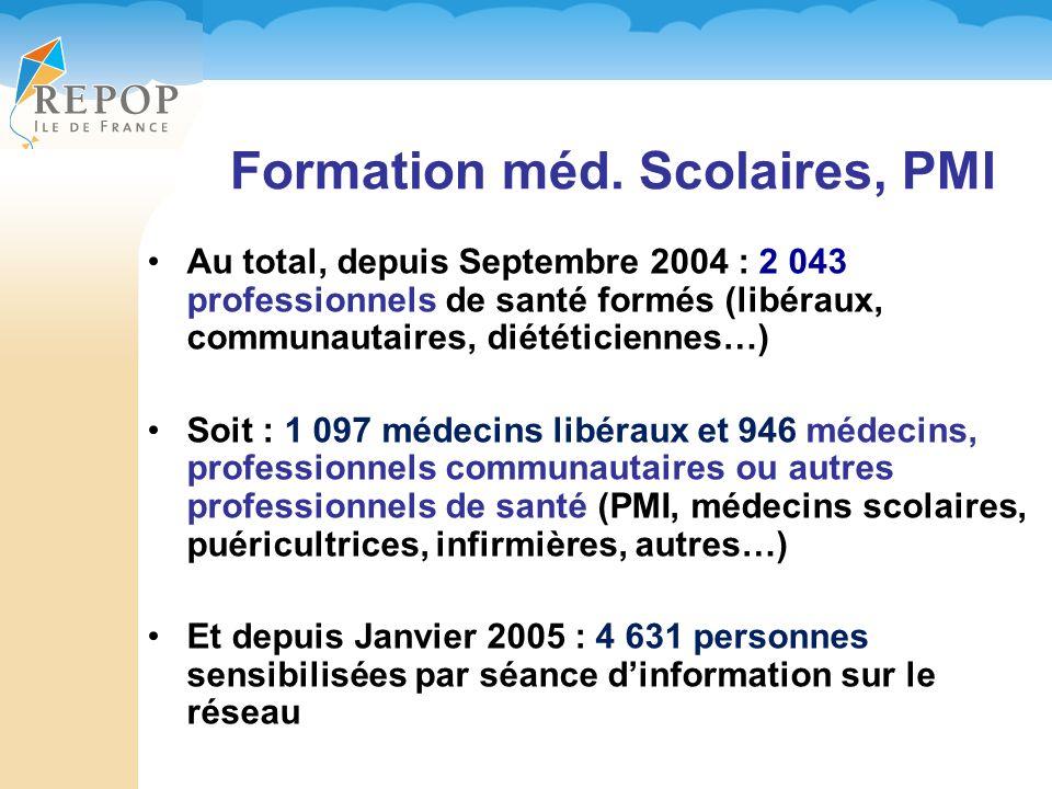 Formation méd. Scolaires, PMI