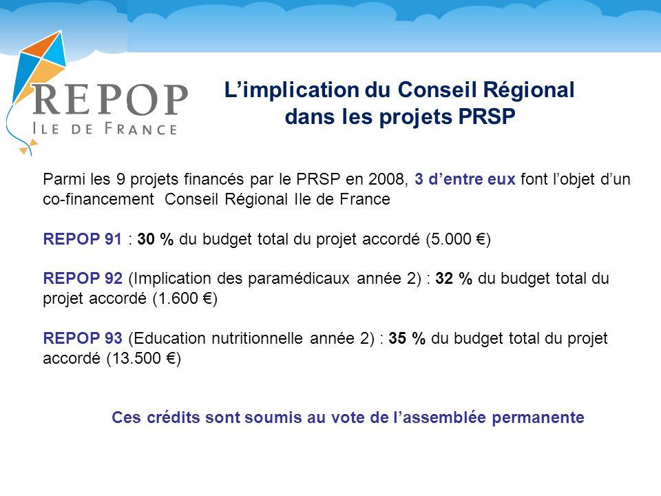 L'implication du Conseil Régional dans les projets PRSP
