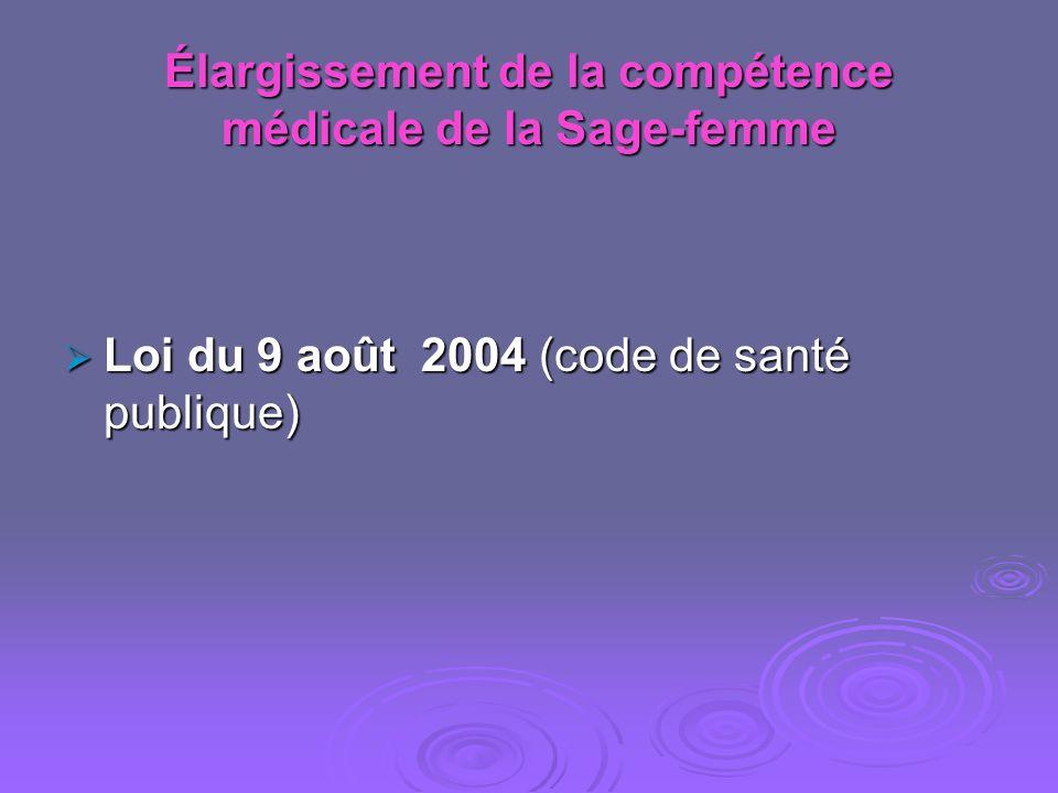 Élargissement de la compétence médicale de la Sage-femme