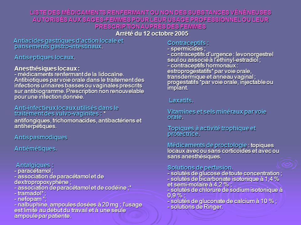LISTE DES MÉDICAMENTS RENFERMANT OU NON DES SUBSTANCES VÉNÉNEUSES AUTORISÉS AUX SAGES-FEMMES POUR LEUR USAGE PROFESSIONNEL OU LEUR PRESCRIPTION AUPRÈS DES FEMMES Arrêté du 12 octobre 2005