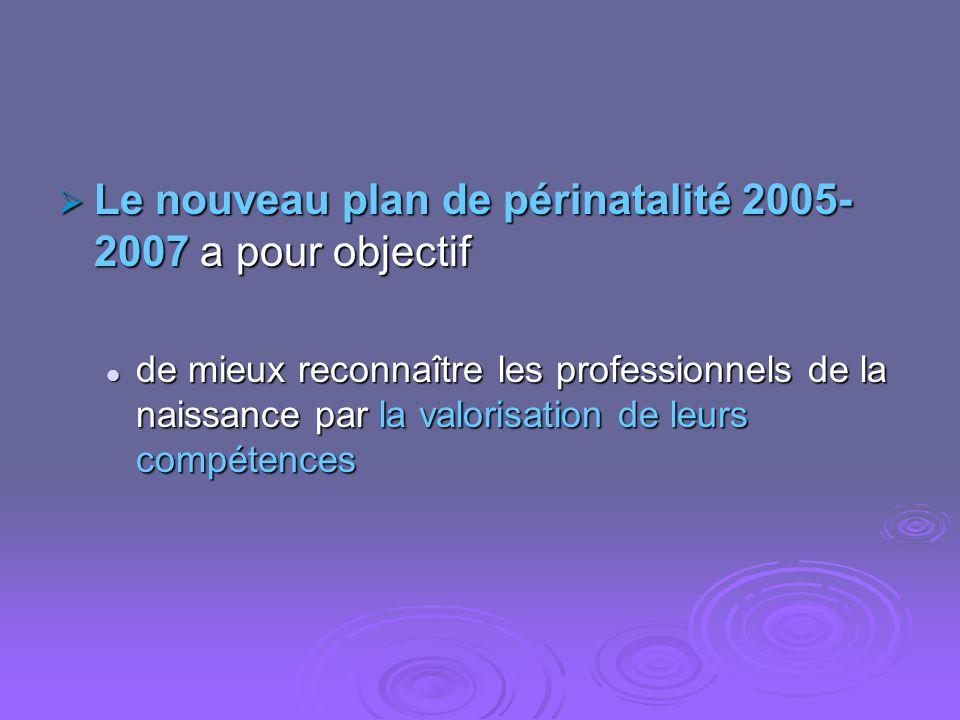 Le nouveau plan de périnatalité 2005-2007 a pour objectif