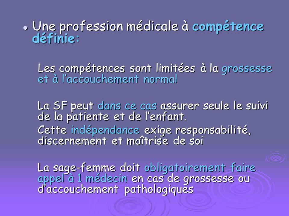 Une profession médicale à compétence définie: