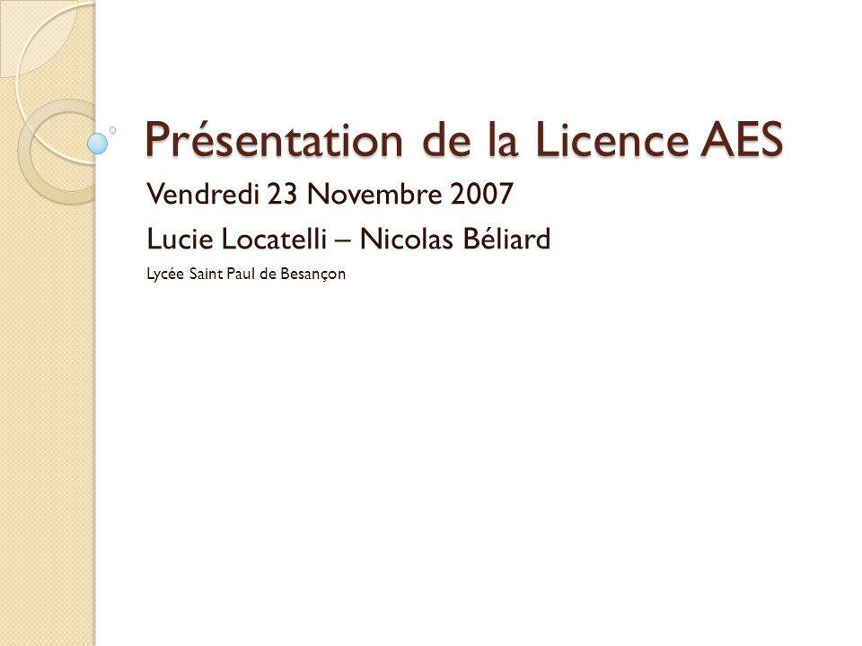 Présentation de la Licence AES