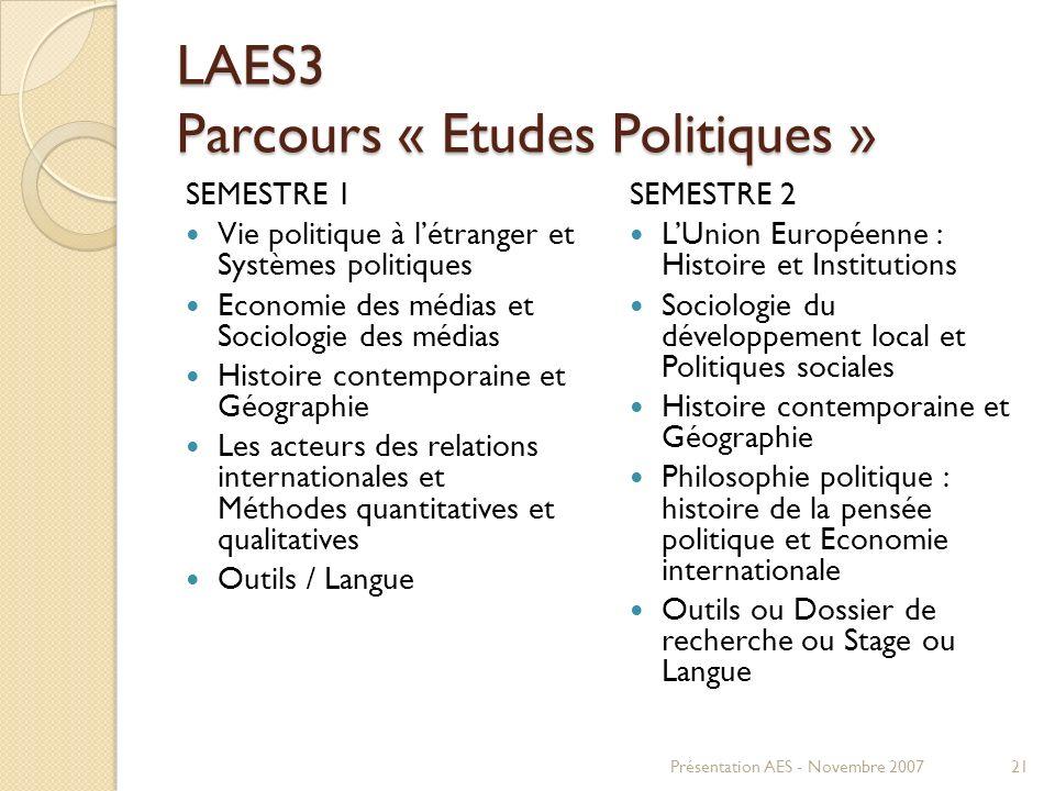 LAES3 Parcours « Etudes Politiques »