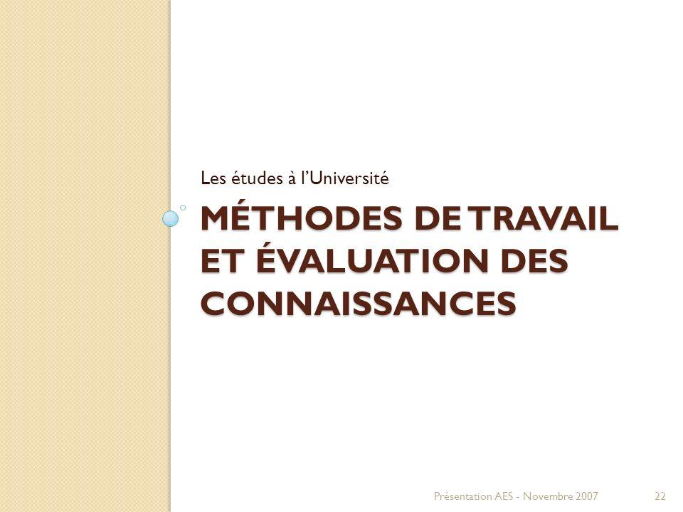 Méthodes de travail et évaluation des connaissances