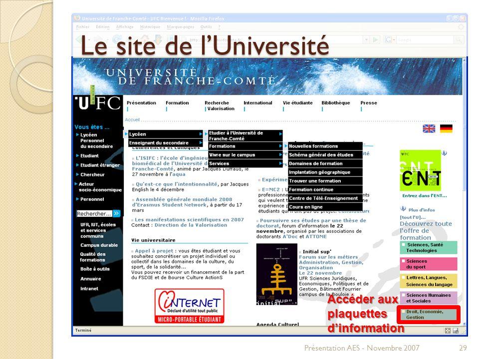 Le site de l'Université