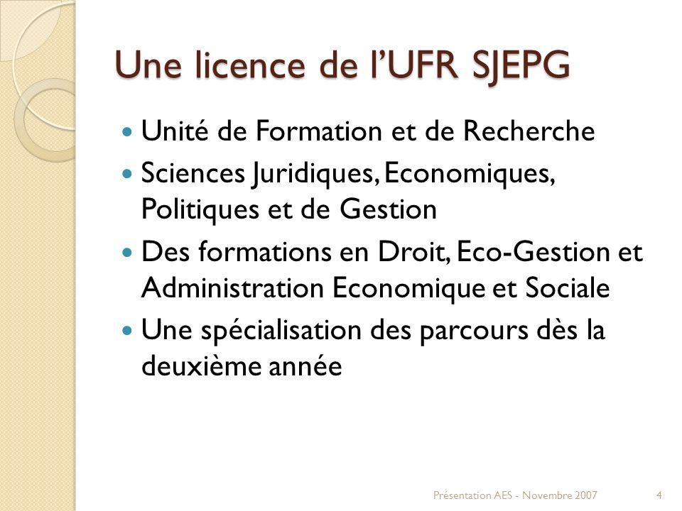 Une licence de l'UFR SJEPG