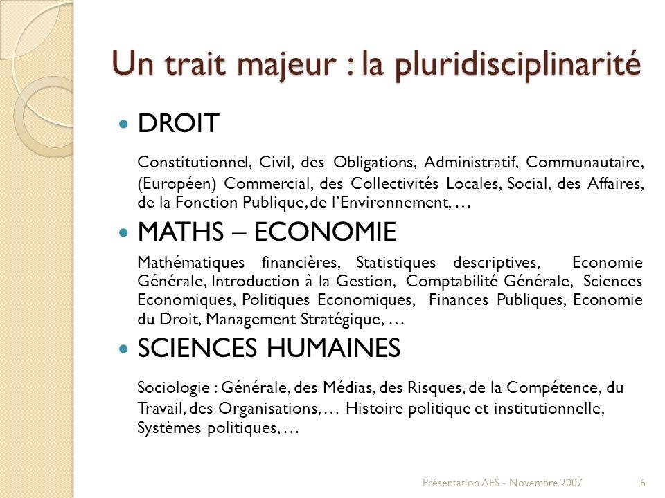 Un trait majeur : la pluridisciplinarité