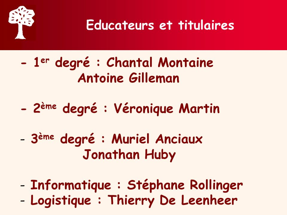 Educateurs et titulaires