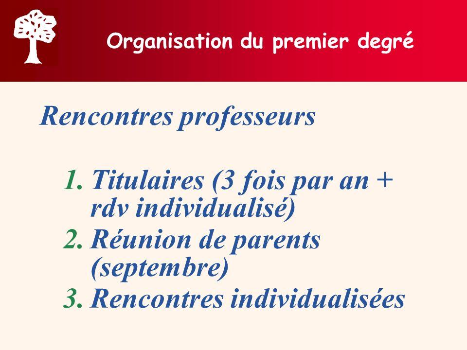 Organisation du premier degré
