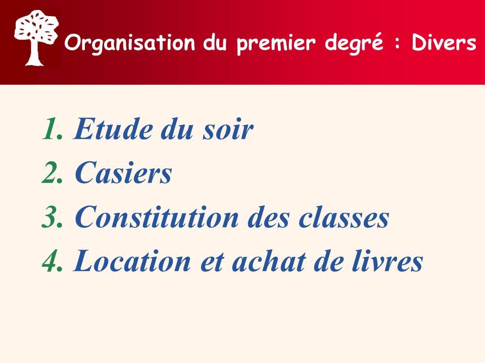 Organisation du premier degré : Divers